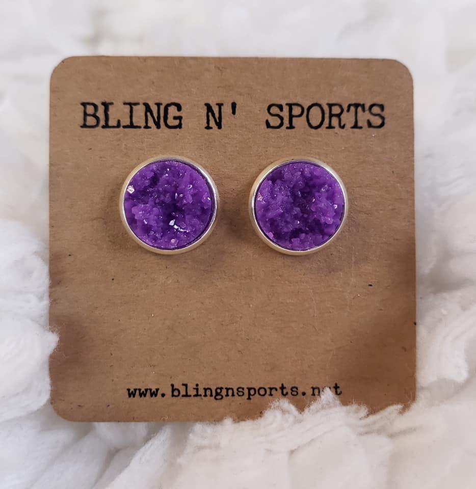 {PURPLE RAIN} Purple 12mm Druzy Earrings