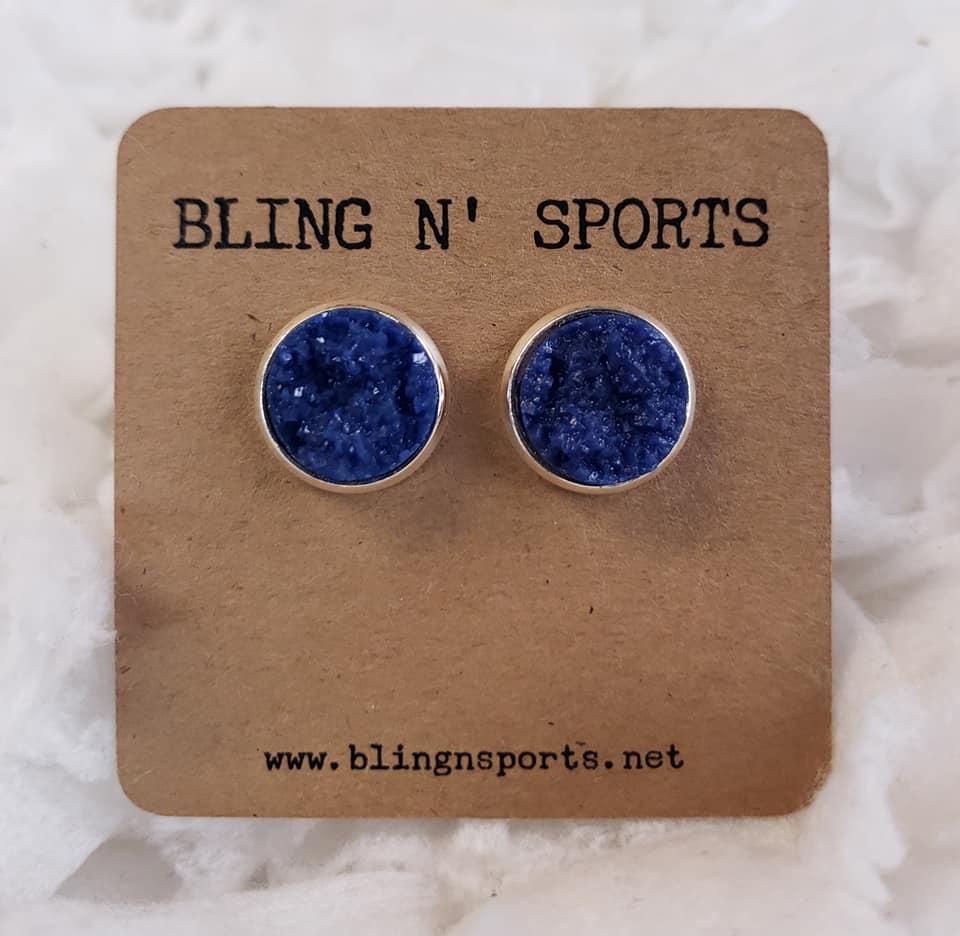 {THUNDERSTORM} Dark Blue 12 mm Druzy Earrings