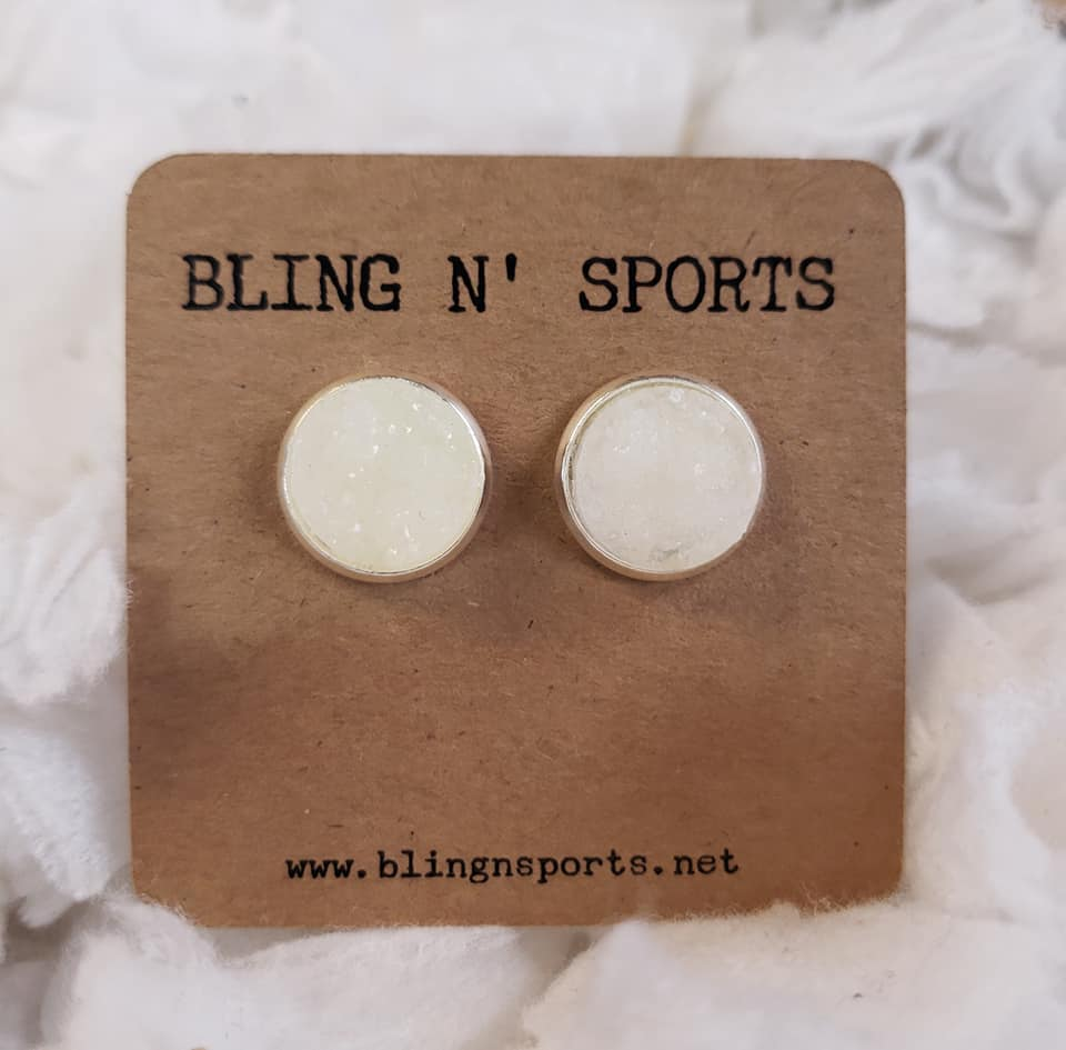 {ALL THINGS PURE} White 12 mm Druzy Earrings