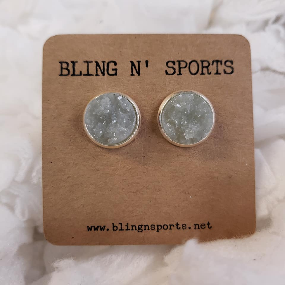 {SHADES OF GREY} 12 mm Druzy Earrings