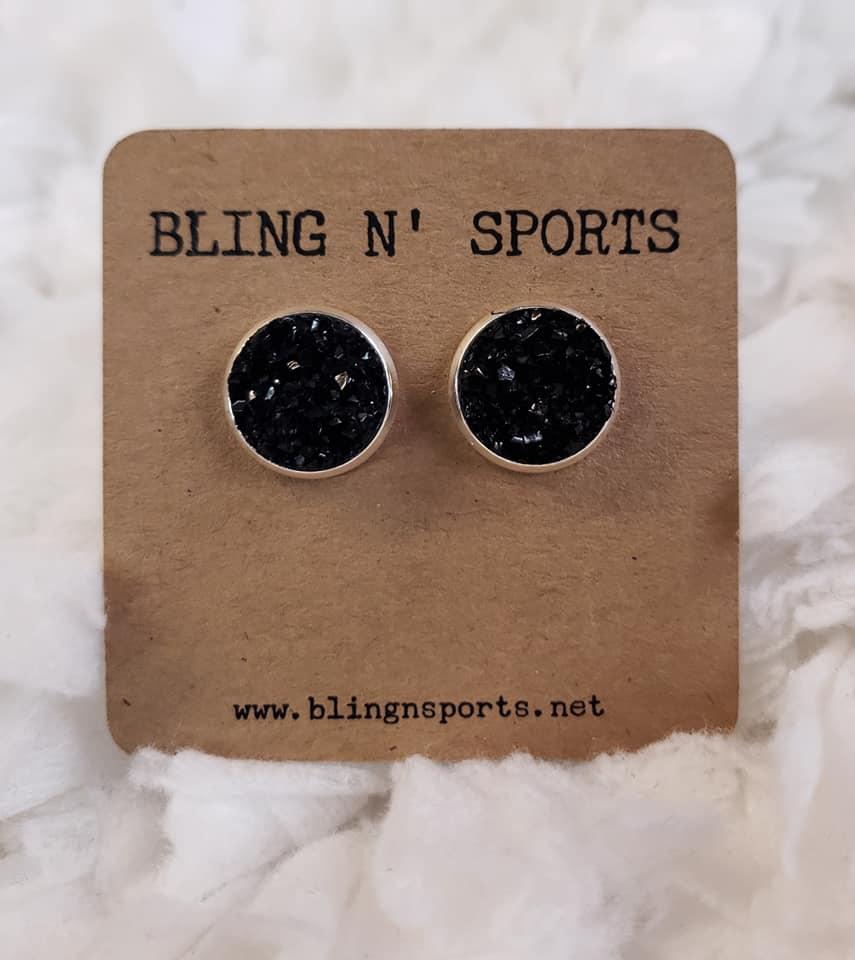 {BLACK BETTY} Black 12 mm Druzy Earrings