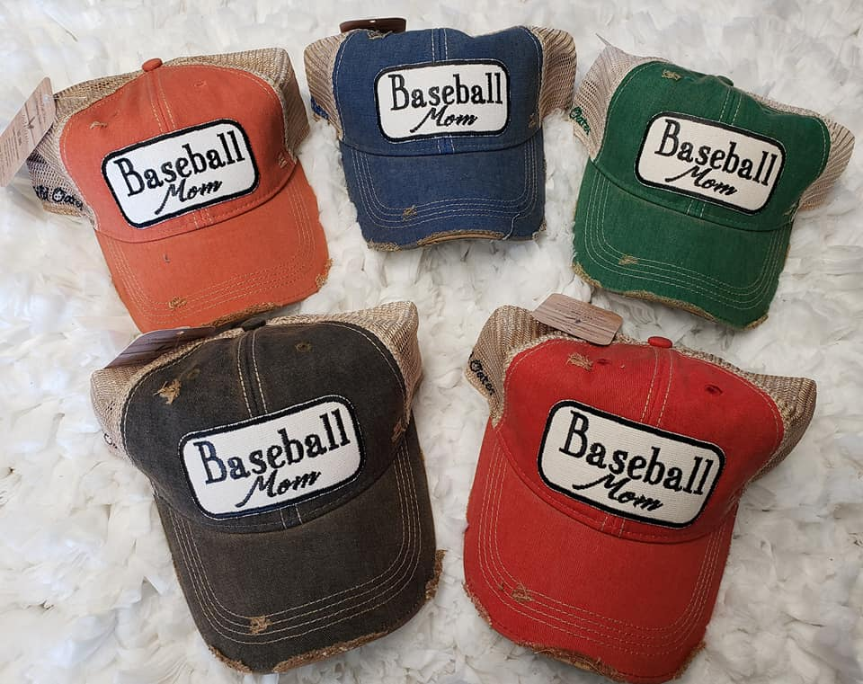 WO; VINTAGE BASEBALL MOM TRUCKER CAP